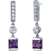 Exotic Sparkle 3.00 Carats Alexandrite Princess Cut Dangle CZ Earrings in Sterling Silver Style SE7472