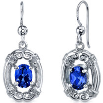 Antique Style 2.00 Carats Blue Sapphire Oval Cut Dangle CZ Earrings in Sterling Silver Style SE7486