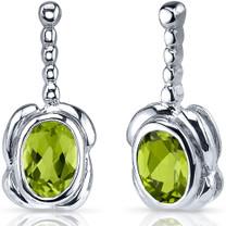 Vivid Curves 1.50 Carats Peridot Oval Cut Earrings in Sterling Silver Style SE7514