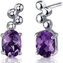 Bubbly 2.00 Carats Alexandrite Oval Cut Earrings in Sterling Silver Style SE7544