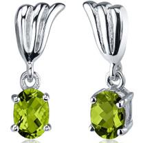 Striking 1.50 Carats Peridot Oval Cut Earrings in Sterling Silver Style SE7550