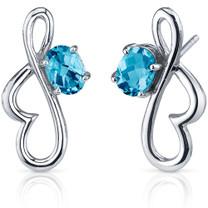 Rhythmic Curves 1.50 Carats Swiss Blue Topaz Oval Cut Earrings in Sterling Silver Style SE7570