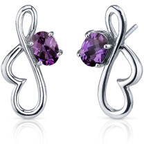 Rhythmic Curves 2.00 Carats Alexandrite Oval Cut Earrings in Sterling Silver Style SE7580