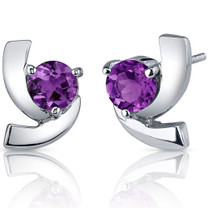 Illuminating 1.50 Carats Amethyst Round Cut Earrings in Sterling Silver Style SE7582