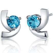 Illuminating 2.00 Carats Swiss Blue Topaz Round Cut Earrings in Sterling Silver Style SE7588