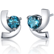 Illuminating 2.00 Carats London Blue Topaz Round Cut Earrings in Sterling Silver Style SE7590