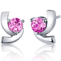 Illuminating 2.50 Carats Pink Sapphire Round Cut Earrings in Sterling Silver Style SE7596