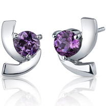 Illuminating 2.50 Carats Alexandrite Round Cut Earrings in Sterling Silver Style SE7598