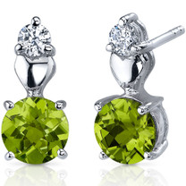 Gleaming Heart 1.50 Carats Peridot Round Cut CZ Earrings in Sterling Silver Style SE7604
