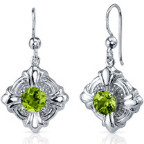 Victorian Style 2.00 Carats Peridot Round Cut Dangle CZ Earrings in Sterling Silver Style SE7622