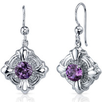 Victorian Style 2.50 Carats Alexandrite Round Cut Dangle CZ Earrings in Sterling Silver Style SE7634