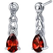Intricate Allure 2.00 Carats Garnet Pear Shape Drop Earrings in Sterling Silver Style SE7692