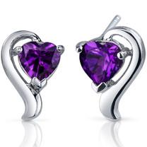 Cupids Harmony 1.50 Carats Amethyst Heart Shape Earrings in Sterling Silver Style SE7744