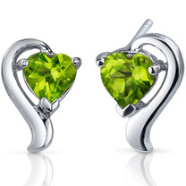 Cupids Harmony 1.50 Carats Peridot Heart Shape Earrings in Sterling Silver Style SE7748