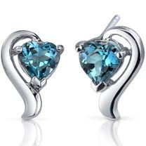 Cupids Harmony 2.00 Carats London Blue Topaz Heart Shape Earrings in Sterling Silver Style SE7752