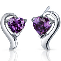 Cupids Harmony 2.00 Carats Alexandrite Heart Shape Earrings in Sterling Silver Style SE7760