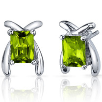 Striking Color 2.00 Carats Peridot Radiant Cut Earrings in Sterling Silver Style SE7802