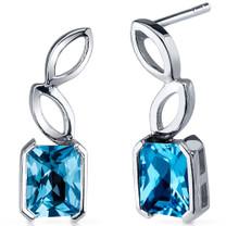 Elegant Leaf Design 2.00 Carats Swiss Blue Topaz Radiant Cut Earrings in Sterling Silver Style SE7822