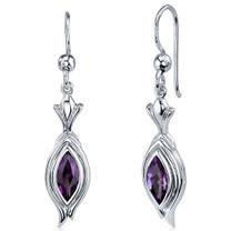 Dynamic Dangle 1.00 Carats Amethyst Marquise Cut Earrings in Sterling Silver Style SE7852