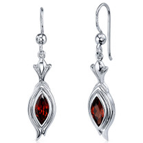 Dynamic Dangle 1.50 Carats Garnet Marquise Cut Earrings in Sterling Silver Style SE7854