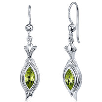 Dynamic Dangle 1.00 Carats Peridot Marquise Cut Earrings in Sterling Silver Style SE7856