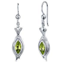 Dynamic Dangle 1.00 Carats Peridot Marquise Cut Earrings in Sterling Silver Style SE7856