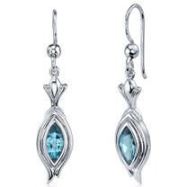 Dynamic Dangle 1.00 Carats London Blue Topaz Marquise Cut Earrings in Sterling Silver Style SE7860