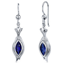 Dynamic Dangle 1.50 Carats Blue Sapphire Marquise Cut Earrings in Sterling Silver Style SE7864