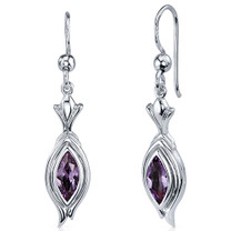 Dynamic Dangle 1.50 Carats Alexandrite Marquise Cut Earrings in Sterling Silver Style SE7868