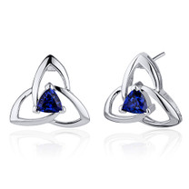 Modern Captivating Spiral 1.00 Carats Blue Sapphire Trillion Cut Earrings in Sterling Silver Style SE7882