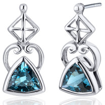 Ornate Class 1.50 Carats London Blue Topaz Trillion Cut Earrings in Sterling Silver Style SE7914