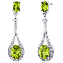 Glamorous 4.00 carats Peridot Oval Cut Dangle Diamond CZ Earrings in Sterling Silver Style SE7928