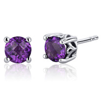 Scroll Design 1.50 Carats Amethyst Round Cut Stud Earrings in Sterling Silver Style SE7942