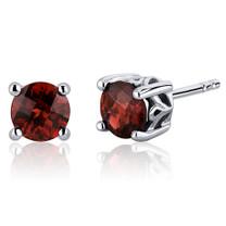 Scroll Design 2.00 Carats Garnet Round Cut Stud Earrings in Sterling Silver Style SE7944