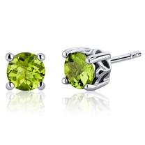 Scroll Design 1.50 Carats Peridot Round Cut Stud Earrings in Sterling Silver Style SE7946
