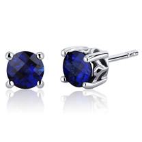 Scroll Design 2.00 Carats Blue Sapphire Round Cut Stud Earrings in Sterling Silver Style SE7954
