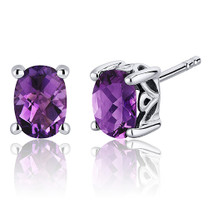 Basket Style 1.50 Carats Amethyst Oval Cut Stud Earrings in Sterling Silver Style SE7960
