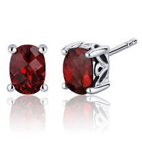 Basket Style 2.00 Carats Garnet Oval Cut Stud Earrings in Sterling Silver Style SE7962