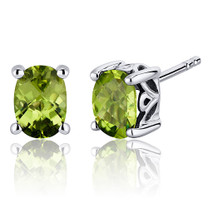 Basket Style 1.50 Carats Peridot Oval Cut Stud Earrings in Sterling Silver Style SE7964