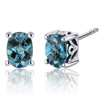 Basket Style 1.50 Carats London Blue Topaz Oval Cut Stud Earrings in Sterling Silver Style SE7968