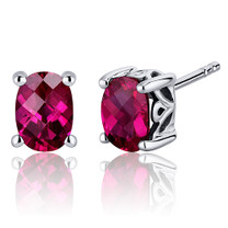 Basket Style 2.00 Carats Ruby Oval Cut Stud Earrings in Sterling Silver Style SE7970