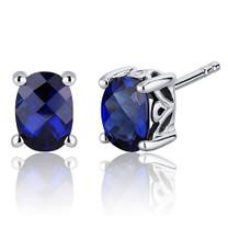 Basket Style 2.00 Carats Blue Sapphire Oval Cut Stud Earrings in Sterling Silver Style SE7972