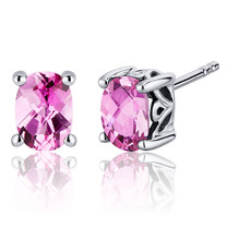 Basket Style 2.00 Carats Pink Sapphire Oval Cut Stud Earrings in Sterling Silver Style SE7974