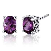 Basket Style 2.00 Carats Alexandrite Oval Cut Stud Earrings in Sterling Silver Style SE7976