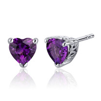 1.50 Carats Amethyst Heart Shape Stud Earrings in Sterling Silver Style SE7978
