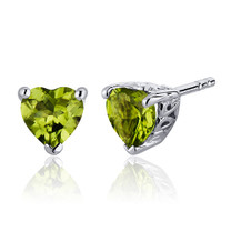 1.50 Carats Peridot Heart Shape Stud Earrings in Sterling Silver Style SE7982