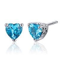 2.00 Carats Swiss Blue Topaz Heart Shape Stud Earrings in Sterling Silver Style SE7984
