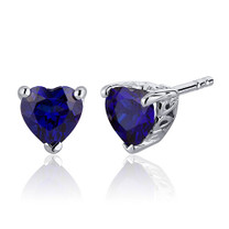 2.00 Carats Blue Sapphire Heart Shape Stud Earrings in Sterling Silver Style SE7990