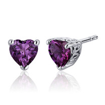 2.00 Carats Alexandrite Heart Shape Stud Earrings in Sterling Silver Style SE7994