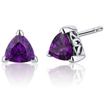 1.50 Carats Amethyst Trillion Cut V Prong Stud Earrings in Sterling Silver Style SE7996